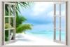 3D-Wandbild Geöffnetes Fenster mit Meerblick