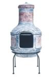 Buschbeck Feuerstelle mit blau rotem Muster auf Stahlgestell