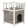 Trixie wetterfestes Katzenhaus mit Balkon aus Holz