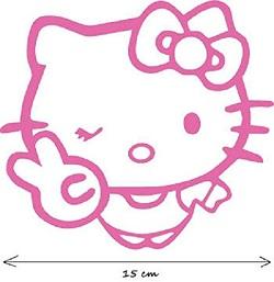 Hollo Kitty Autoaufkleber in Pink